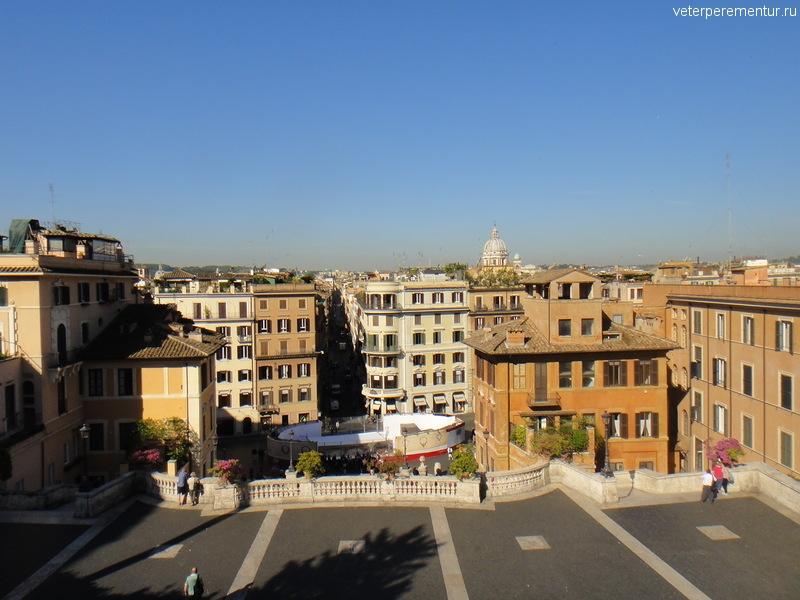 Вид сверху с Испанской лестницы, Рим