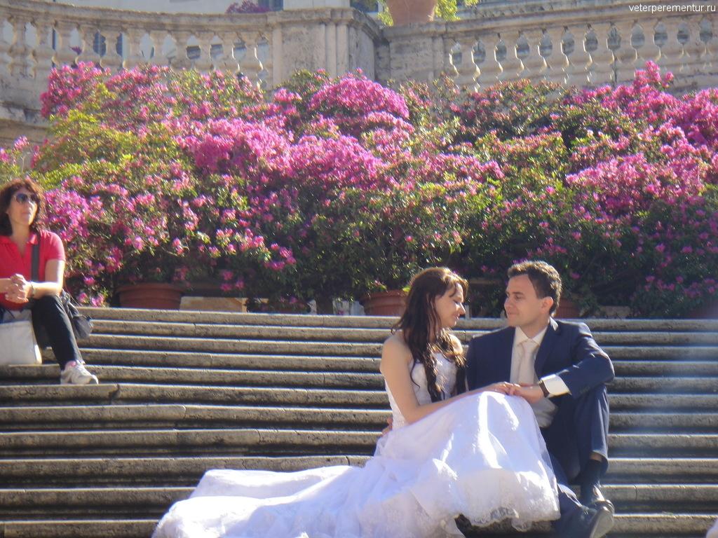 Свадебная фотосессия на Испанской лестнице, Рим