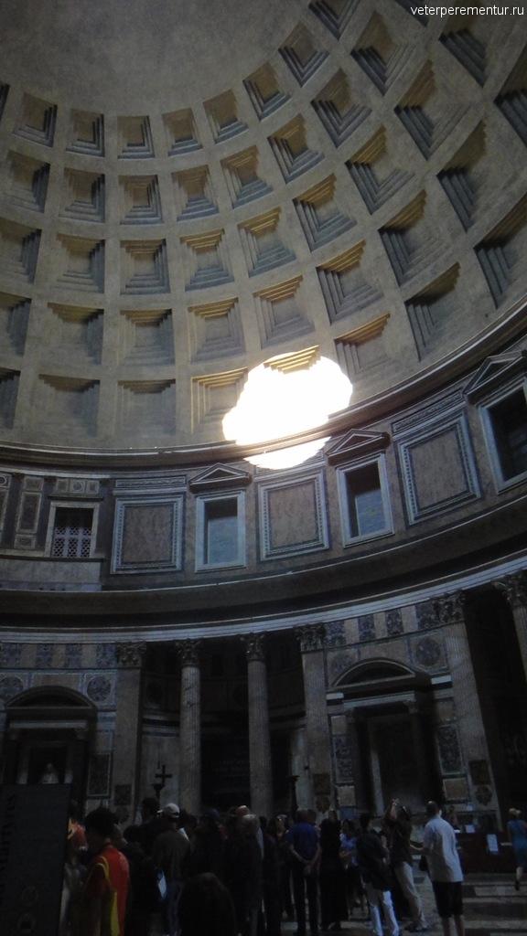 Пятно света от отверстия в куполе, Пантеон, Рим