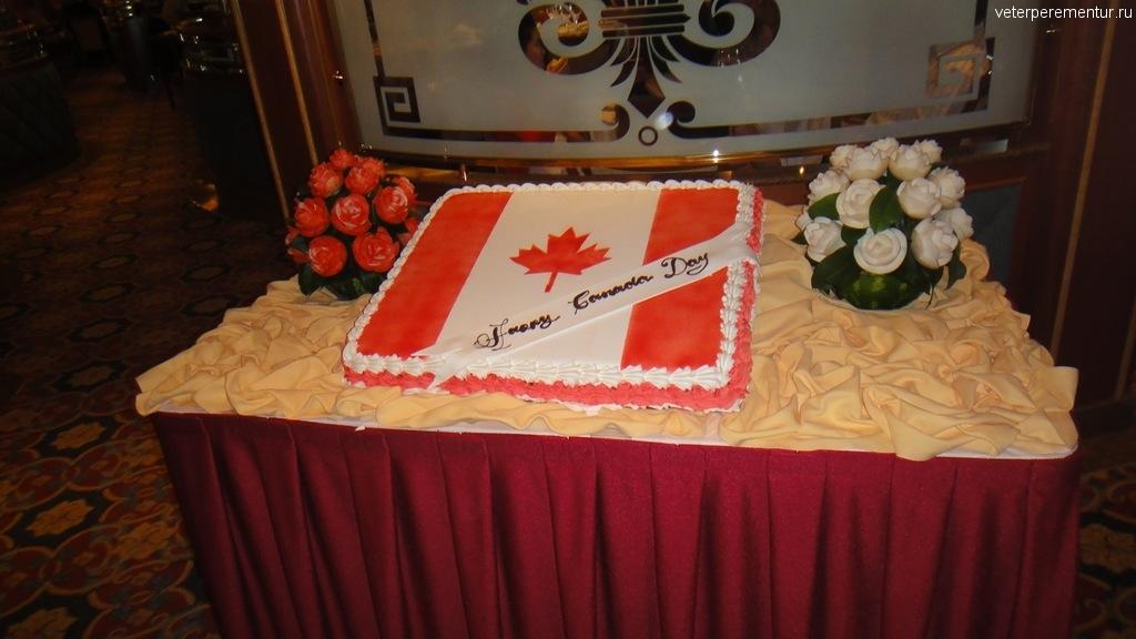 торт в виде канадского флага