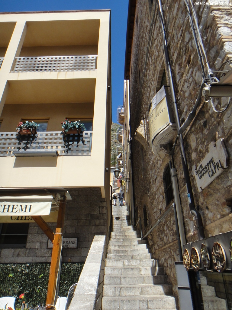лестница, Таормина, Сицилия