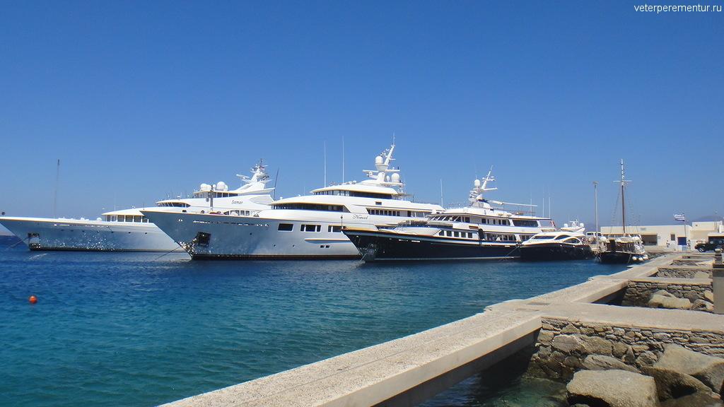 Яхты у берега Миконоса
