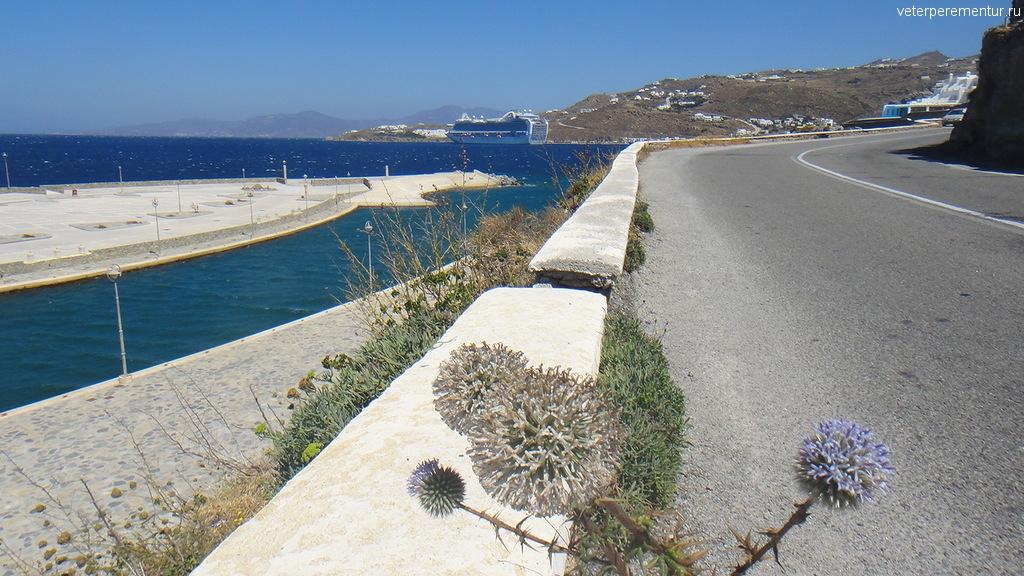 Миконос, дорога к новому порту