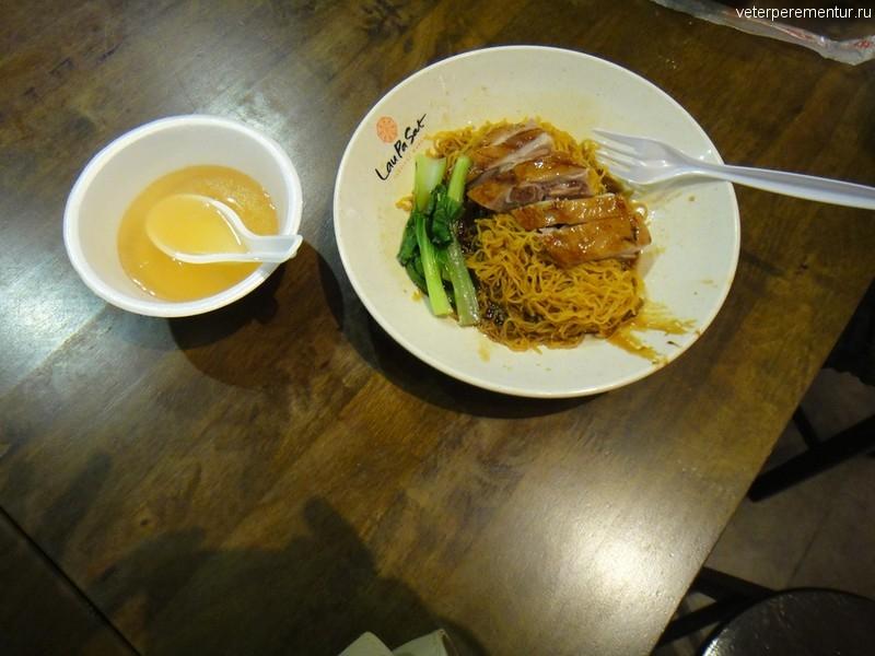 Утка в китайском ресторанчике, фуд корт, Сингапур