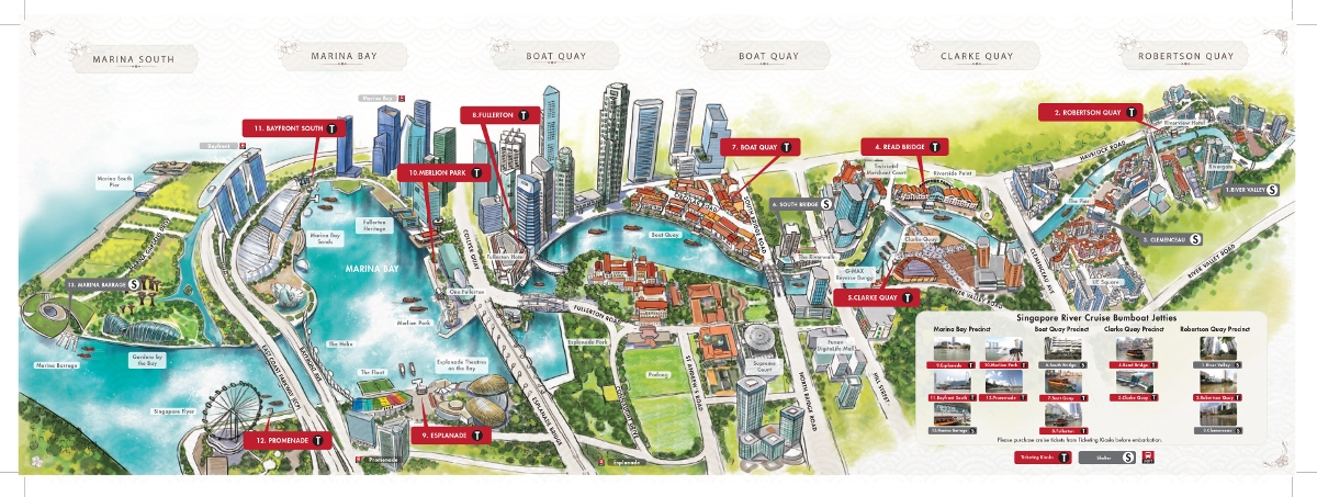 Карта маршрута речного круиза в Сингапуре
