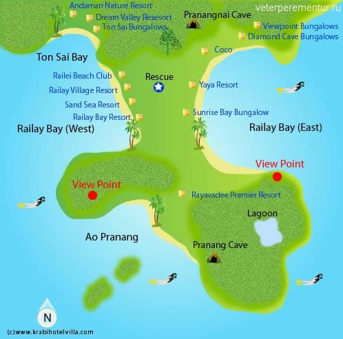 Карта Рейли, провинция Краби, Таиланд
