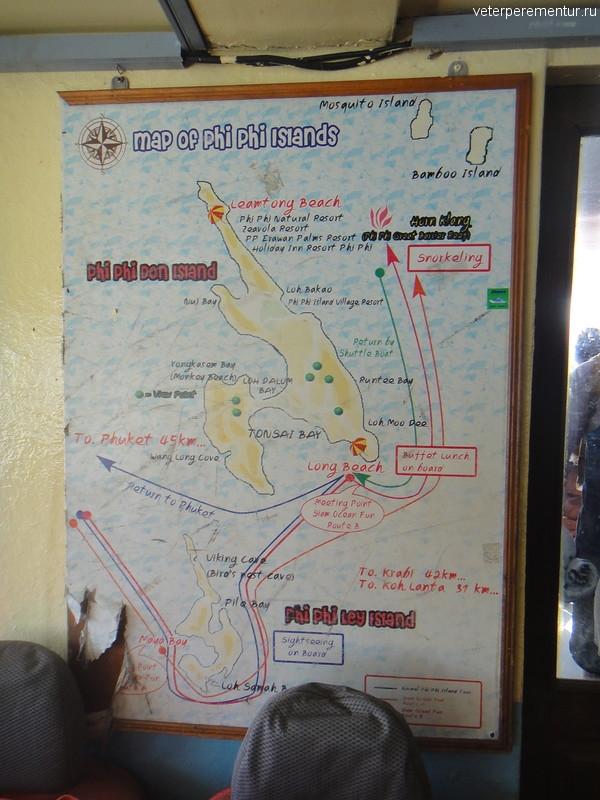 карта маршрута движения парома на Пи-Пи