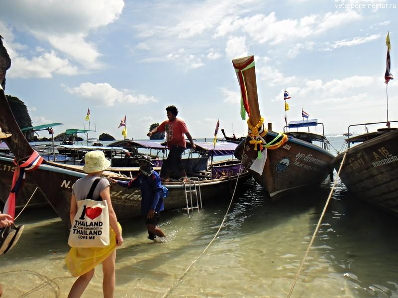 Лодки у берега Рейли, Таиланд