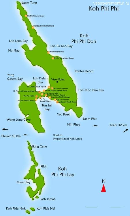 Карта phi phi don, phi phi lay