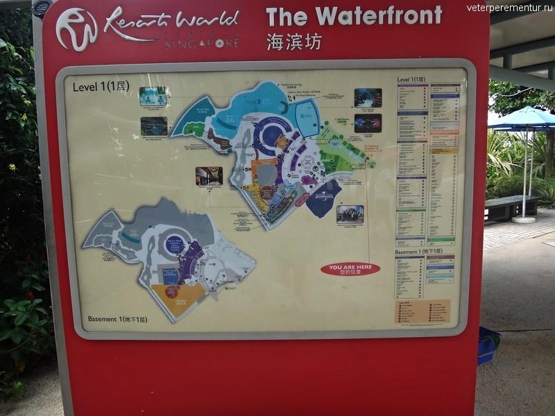 Плакат с картой Сентозы