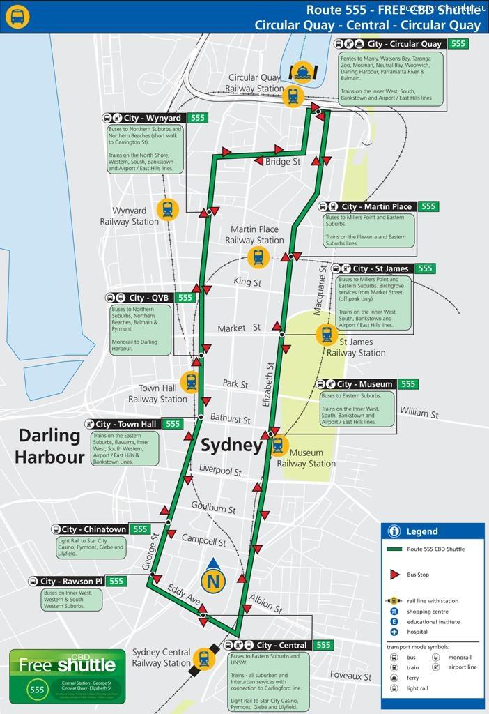 Карта движения бесплатного 555 автобуса в Сиднее