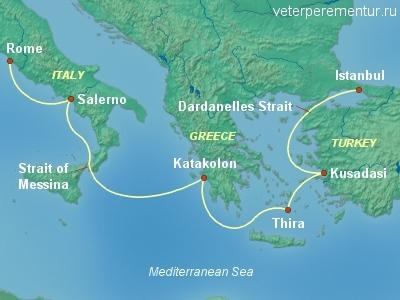 Queen Victoria, карта маршрута