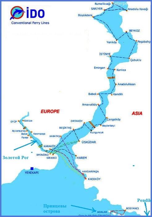 Карта водного транспорта Стамбула