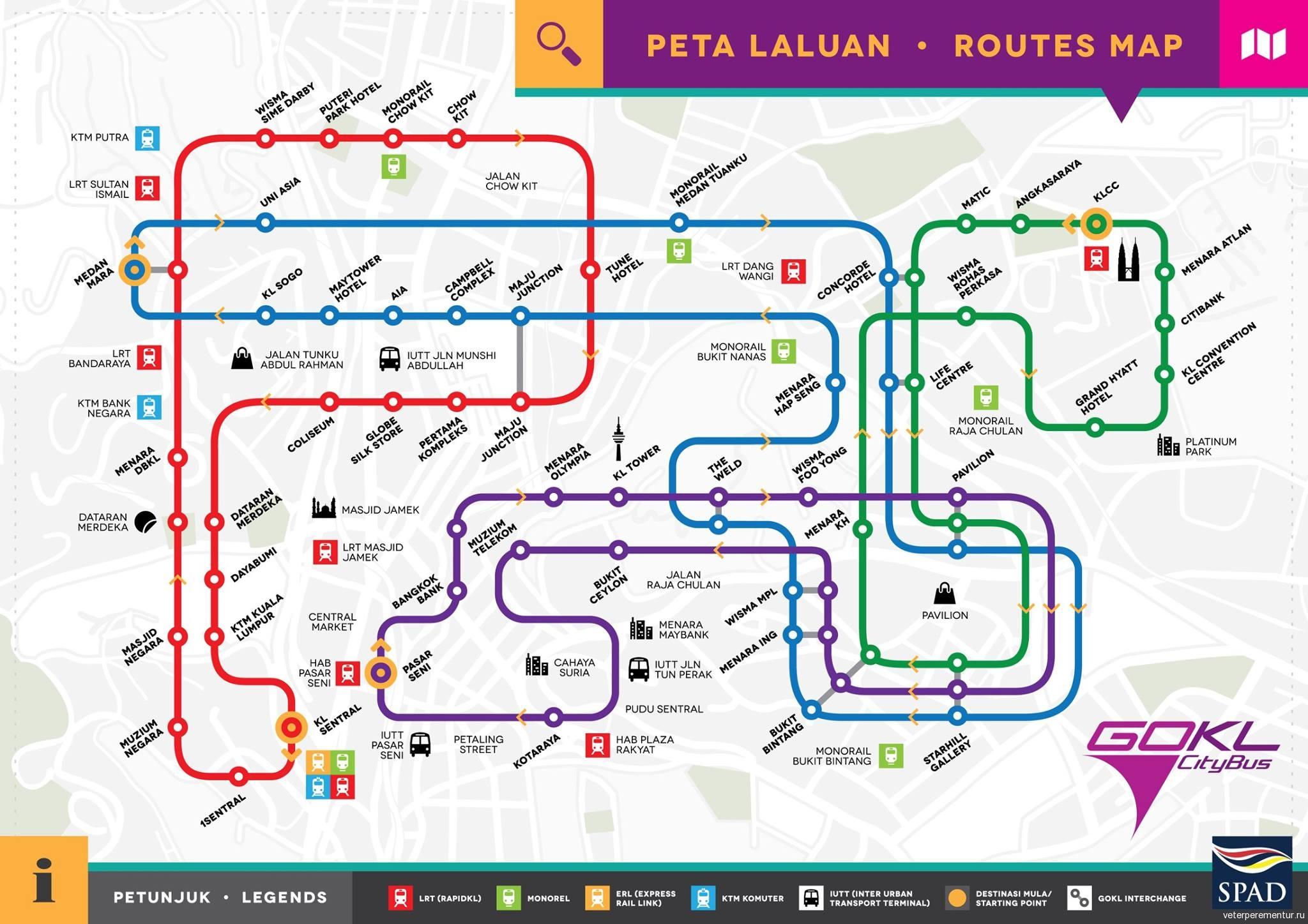 Карта маршрутов бесплатного туристического автобуса в Куала Лумпуре
