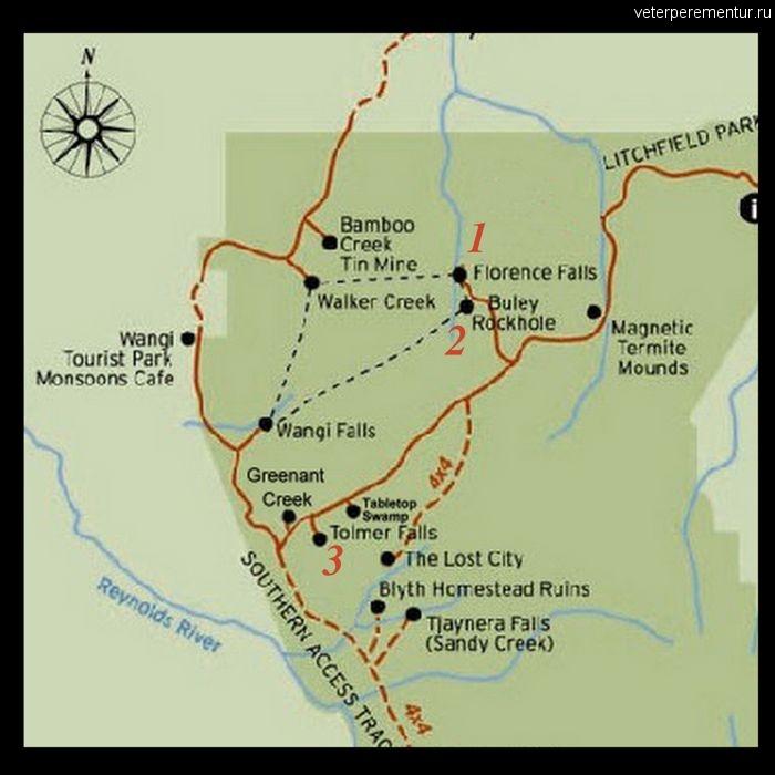 Карта треков в парке Личфилд, Австралия