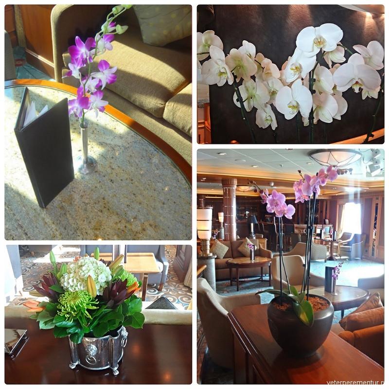 Цветы на корабле Queen Victoria