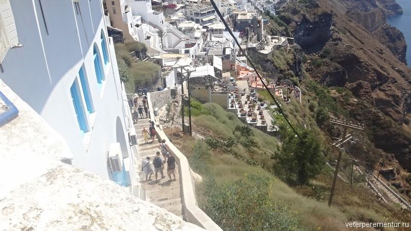 Лестница из города в порт, Санторини