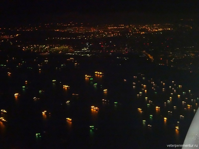 Вид на бухту Сингапура с самолета