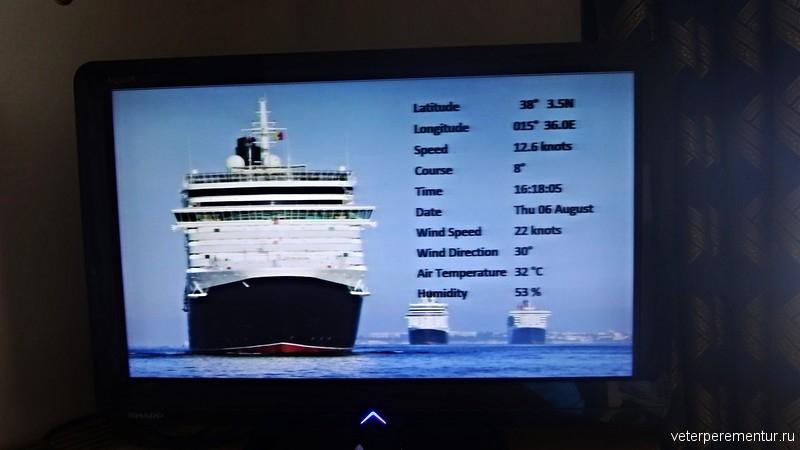 Параметры движения корабля на экране монитора в круизе