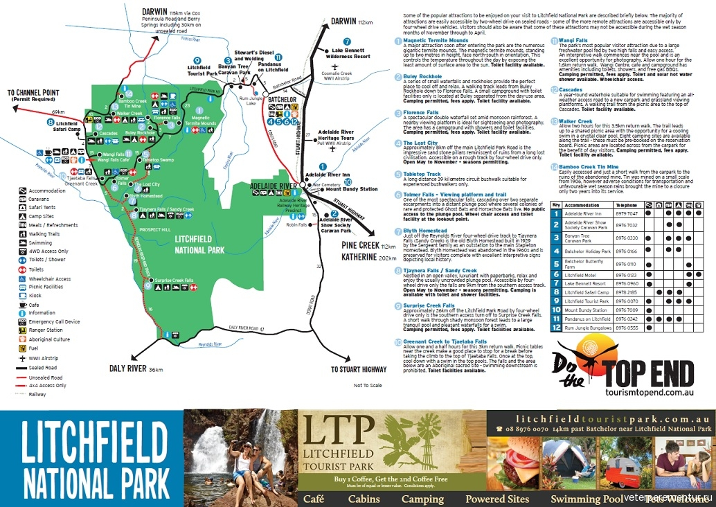 Карта национального парка Личфилд (Litchfield national park map)