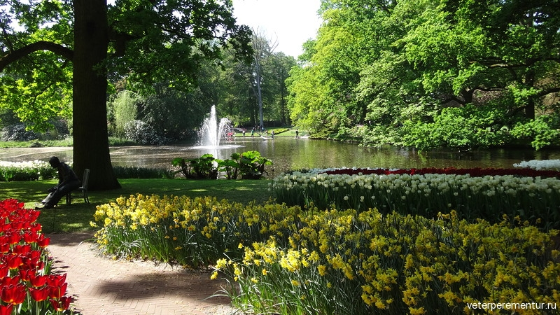 Парк цветов Keukenhof, статуя, фонтан