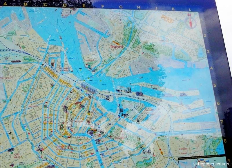 Карта Амстердама на уличном плакате