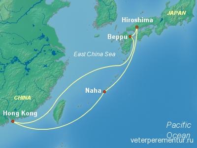 Маршрут круиза из Гонконга в Японию