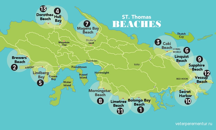 St. Thomas, Usvi, beaches-table-stt-MAP