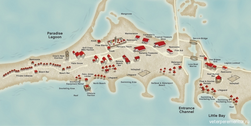 Princess Cays (Eleuthera, Bahamas), карта