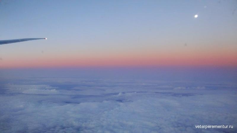 Рассвет в небе над Гонконгом