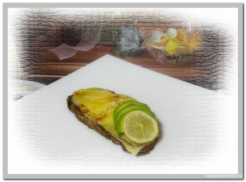 Sandwich with egg, cheese and avocado