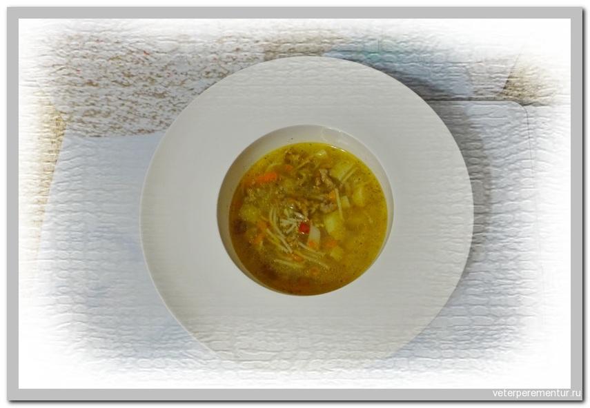 Суп с фаршем и вермишелью