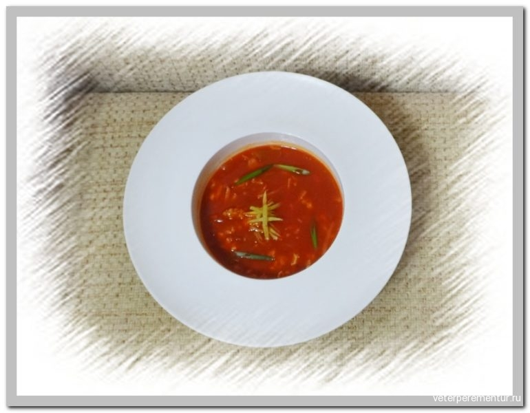 Китайский томатный суп с яйцом Фанцедань тан