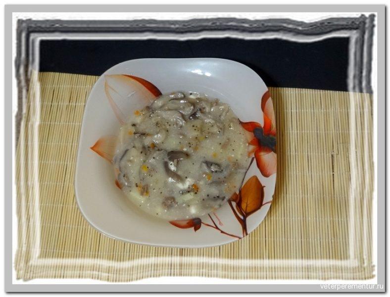 Сырный суп с фаршем и грибами
