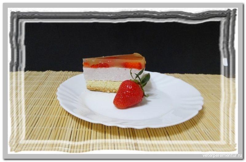 Творожно-клубничный торт