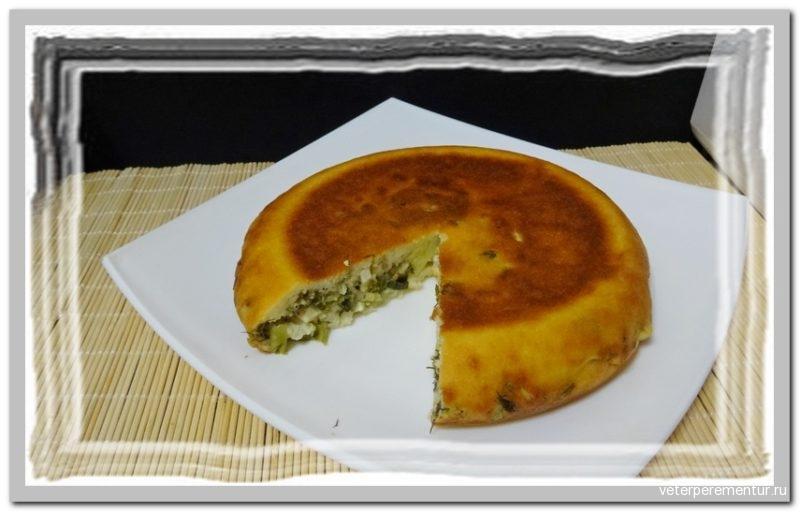 Пирог на кефире с яйцом и зеленым луком