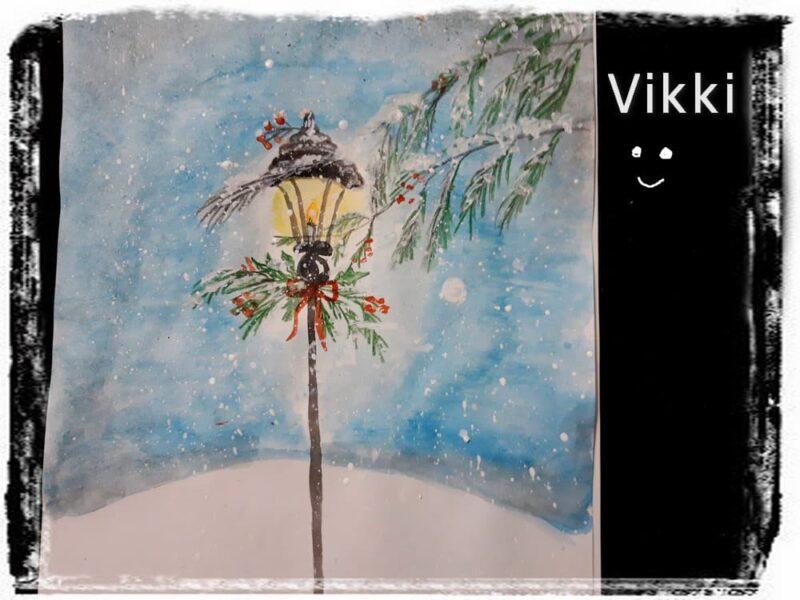 Рисунок фонарь и снегопад