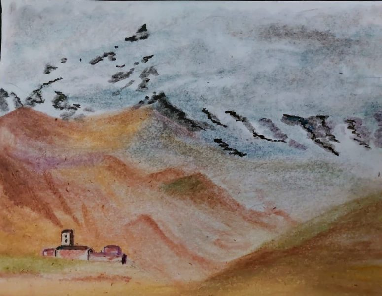 акварельная живопись, горы